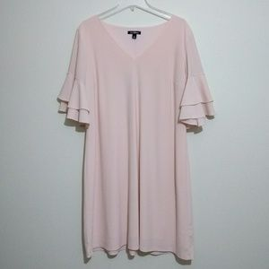 Roz&Ali Blush Pink Ruffle Sleeve Vneck Shift Dress